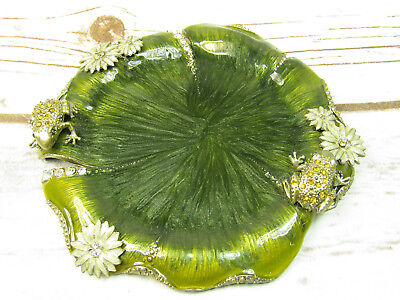 """5"""" Lily Pad Frog Decorative Trinket Jewelry Tray Coaster Pewter & Lacquer Paint"""
