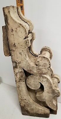 "Victorian Gingerbread 20 1/2"" Chippy White Corbel Antique Architectural"