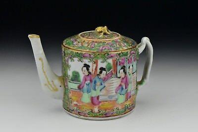Antique Chinese Export Porcelain Famille Rose Teapot with Mandarin Characters