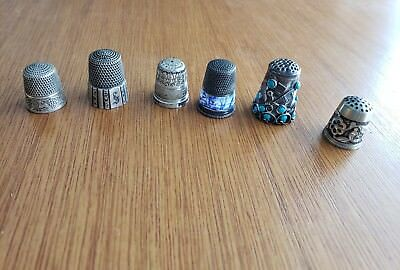 Lot Of 6 Sterling Silver Thimbles