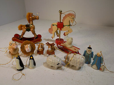 13 Vintage Wooded Painted Christmas Tree Decorations Rocking + Carousel Horse ++
