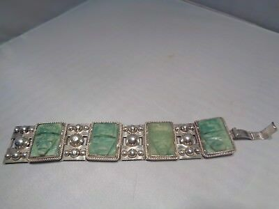 """Hvy. Vintage Mexican Sterling & Carved  Aztec  Panels 7"""" Green  Stone  81 Grams"""