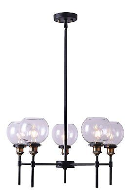Primo 5 Light Industrial Hanging Chandelier Antique Brass Linea di Liara
