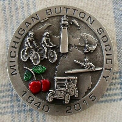 "1 3/4"" Battersea, MBS 75th Anniv. Pewter Favor Button, Face Image on Shank"