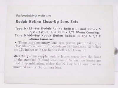Kodak Retina Close-Up Lens Sets N/32 N/60 Instruction Manual 6 Pages Fold Out