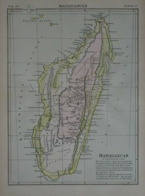 Original 1883 James Sibree Antique Map MADAGASCAR Native Tribes Antananarivo