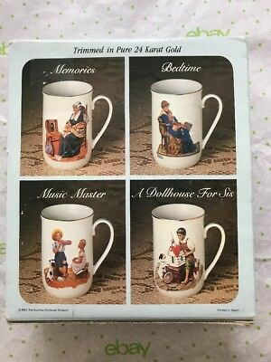 Collector's Mug Set By Norman Rockwell Trimmed In Pure 24 Karat Gold 1983 Japan