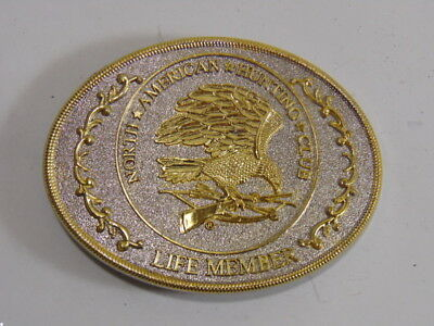 Vintage Collectible North American Hunting Club Life Member Eagle Belt Buckle