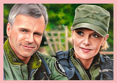 Original Set of 2 ACEO Stargate Jack SG1 Richard Samantha Sam Amanda M. Mishkova