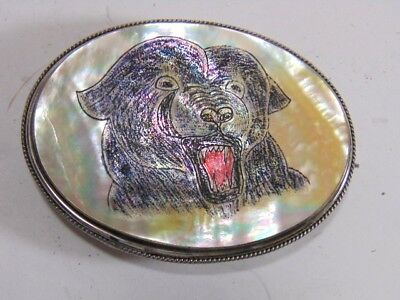 Vintage Collectible Mother of Pearl Bear Belt Buckle