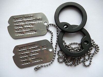 Notched Dog Tag Set 2 Tags 2 Chains & 2 Silencers, WWII KO VN Fast Free Shipping
