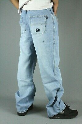 Three Sixty 275 Youths Loose Fit Bleach Blue Crosshatch Jeans Baggy Skate Street