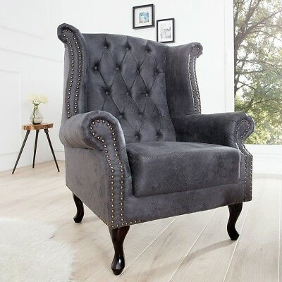 cagü: EDLE DESIGN CHESTERFIELD OHRENSESSEL SESSEL [WINCHESTER] GRAU CHAISELOUNGE
