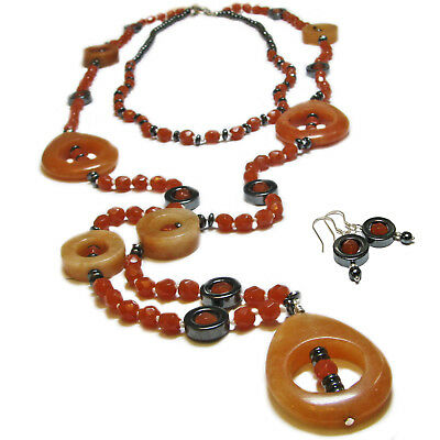 Reclaimed Treasures--Carnelian & Hematite Necklace and Earrings By SoniaMcD