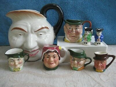 3 ARTONE England mini porcelain TOBY CHARACTER JUGS Mother Goose Old Charle