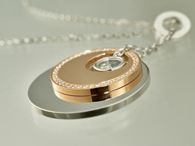 """Chopard 18K Rose and White Gold """"Happy Diamonds"""" Round Necklace Pendant"""