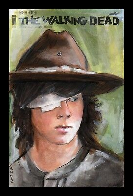The Walking Dead 150 Blank Sketch Variant Cover Original Art Carl Grimes TWD