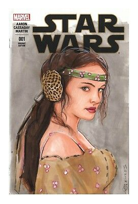 Star Wars Original Art Sketch Comic Cover Blank Padmé Amidala Natalie Portman