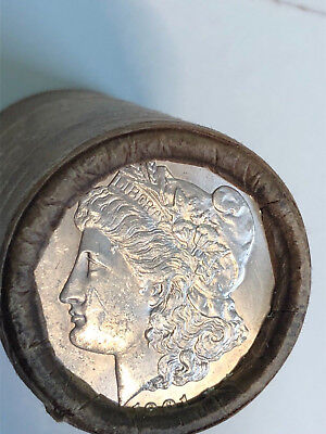 $20 MORGAN SILVER DOLLAR ROLL 1901 FRONT & P-Mint ON BACK 20 coins Rare wax roll