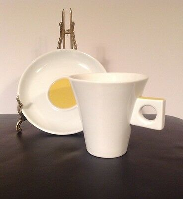 NESCAFE DOLCE GUSTO White Porcelain Cup Saucer Set Square Handle Mustard Yellow