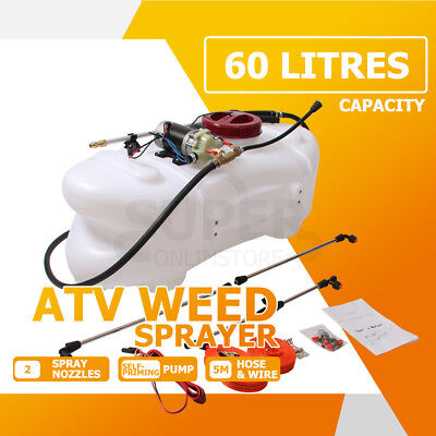 60L ATV Weed Sprayer 12V Pump Tank Chemical Spray Garden Farm Boom Spot Wand AUS