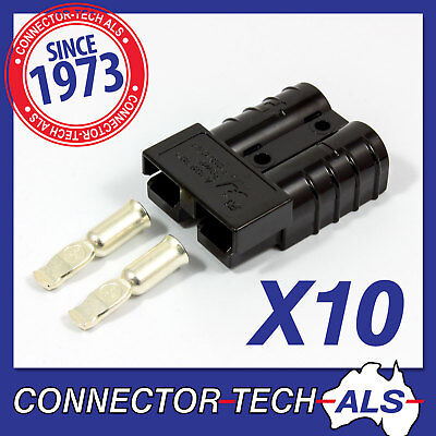 10X GENUINE Anderson BLACK 50 AMP Plugs 8AWG Contacts - 4X4, Caravan #6331G15x10