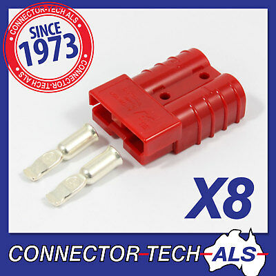 8X GENUINE Anderson RED 50 AMP Plugs 8AWG Contacts 4X4, Caravan Solar #6331G14x8