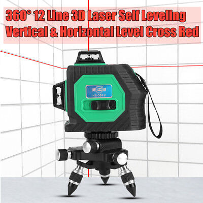 360° 12 Line 3D Level Laser Automatic Self Leveling Vertical & Horizontal Green