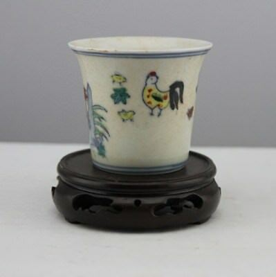 Chinese Old Marked Doucai Colored Chicken Family Pattern Porcelain Cup