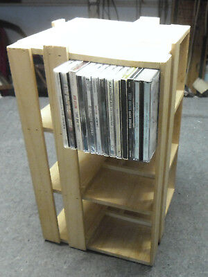 Wooden CD Carousel Storage Tower Revolving Wooden Display Rack Holds 144+ CD's