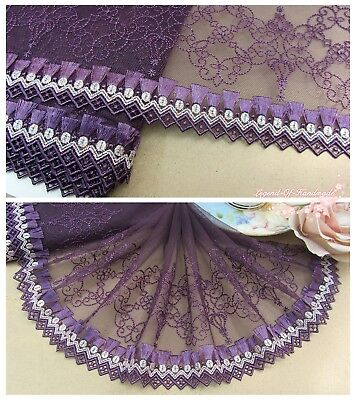 "7""*1Y Embroidered Floral Tulle Lace Trim~Deep Purple~Costume/Dress/Doll/Sewing~"