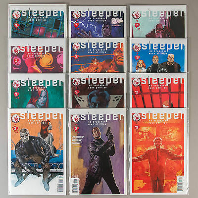 Sleeper #1-12, Full Run, Lot of 12 Brubaker/Phillips comics, complete VF set