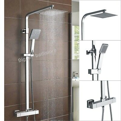 "12"" Twin Head Slim Square Thermostatic Rain Shower Mixer Bathroom Silver Set 55"