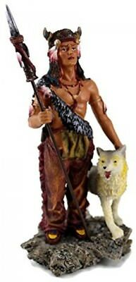 Native American Warrior With Wolf Collectible Indian Figurine Statue, 7.5 Inches