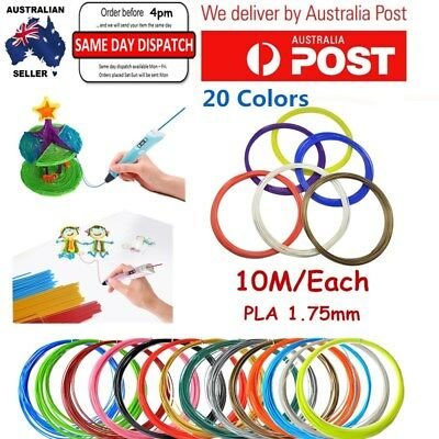 10M/Each 3D Printer Filament PLA 1.75mm 20 Colors For Printing Drawing Pen New