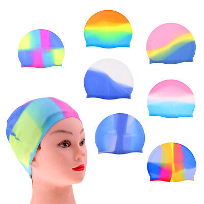 Unisex Adult Men Women Kids Silicone Swimming Pool Cap Swim Shower Bath Hat