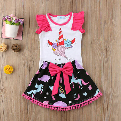 US Newborn Baby Girls Sleeveless Unicorn T-shirt Top+Bowknot Dress Clothes