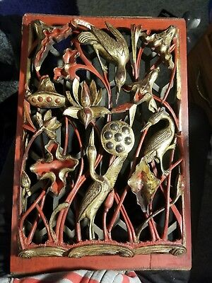 18th century chinese qing dynasty red and gold guilt wood hand carved panel