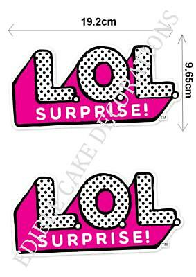 2 X L.O.L Surprise Dolls LOL SIGN Cupcake Edible Paper Cake Topper Decoration