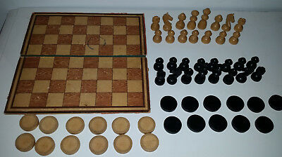 Vintage wooden chess & checkers playing pieces & board MILL / 9 Men's Morris
