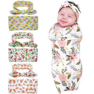 Newborn Infant Baby Floral Swaddle Wrap Swaddling Blanket Towel Knot Headband