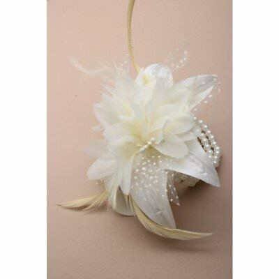 Cream Feather Flower and Pearl Beaded Wrist Corsage Bracelet