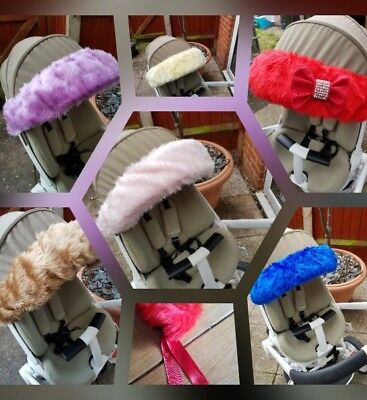 Luxury Fur Hood Trim Decorative Handmade Pram Buggy Pushchair Baby Accessories