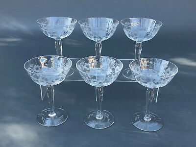 6 vintage clear optic and cut champagne or wine glasses 1930's 1940's