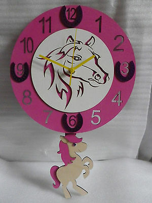 Pink Horse / Pony Wooden Childrens / Kitchen Wall Clock With Pendulum.new.wood