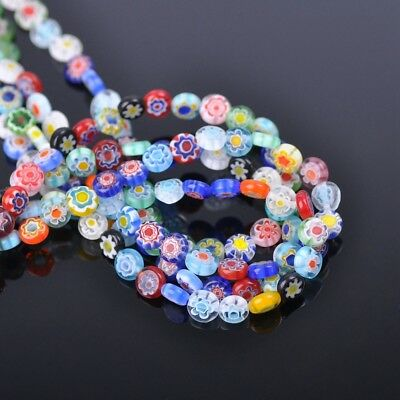 100pcs 6mm Oblate Mixed Millefiori Flower Glass Loose Craft Beads