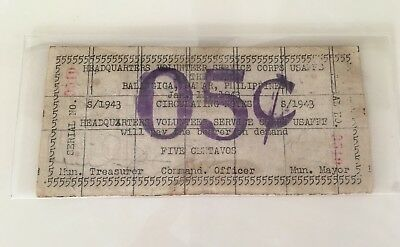 PHILIPPINES GUERRILLA 5 CENTAVOS 1943 Emergency Currency Purple Ink