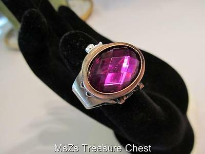 Brass Backed PURPLE Stone Ring Watch    ** New with Gift Box! **