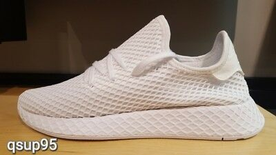 new style 1032b ffdde Adidas Originals Deerupt Runner Triple White CQ2625 Men GS Womens Size 4Y-13