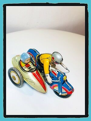 Spiel Zinn vintage motorcycle with SIDECAR tin Spielzeug ms 709 605 made in